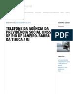 Telefone Da Agência Da Previdência Social (Inss) de Rio de Janeiro-barra Da Tijuca _ Rj - Previdência Social