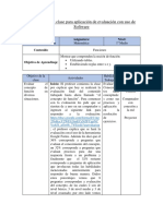 Planificación de clase para aplicación de evaluación con uso de software