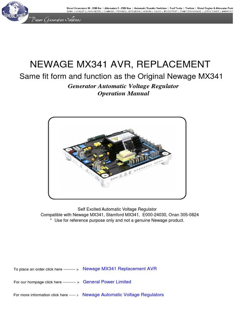 NEWAGE-MX341-AUTOMATIC-VOLTAGE-REGULATOR pdf | Electric