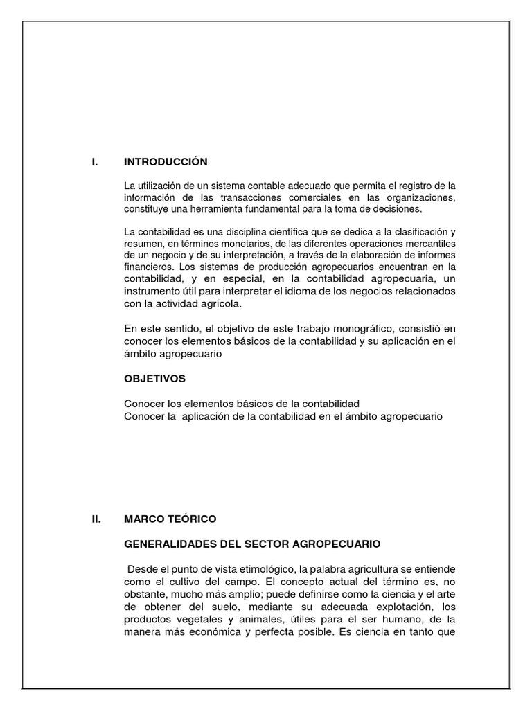 informe contabilidad agropecuaria
