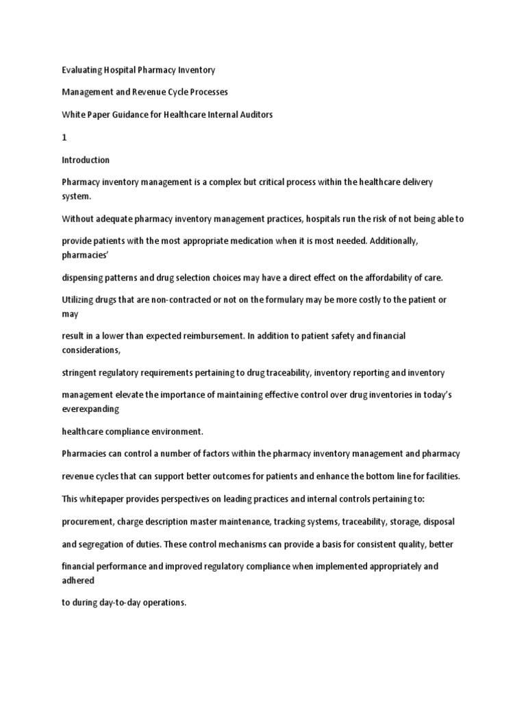 Evaluating Hospital Pharmacy Inventory | Pharmacy