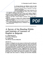 A Survey of the Reading Habits and Interests of Learners of English in Belgrade