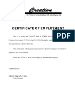 Certification of Employment Jay