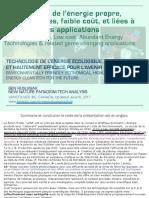 Technologies de l'énergie propre, moins connues, Faible coût, et liées à l'évolution des applications / Less Known, Clean, Low cost, Abundant Energy Technologies & Related Game Changing Applications