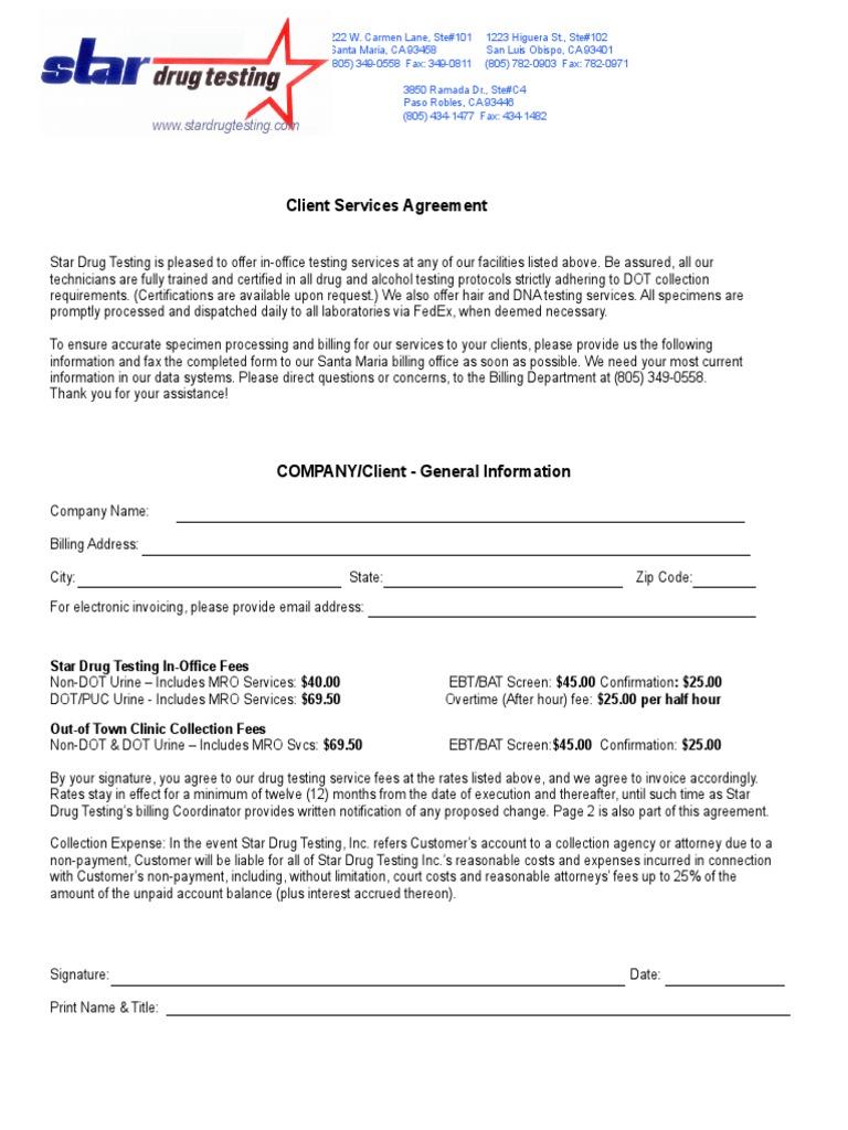 Client Services Agreement Drug Test Indemnity