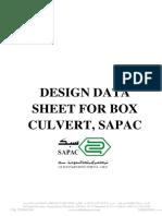 Design Data Sheet for Box Culvert