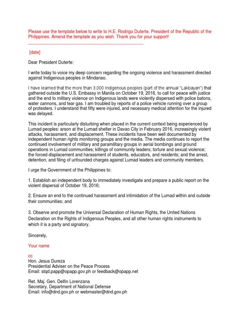 Lumad Oct 2016 Sample Letter 0 1 Rodrigo Duterte Rights
