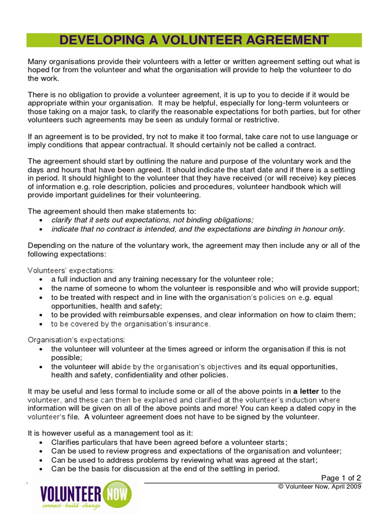 developing a volunteer agreement information sheet nl