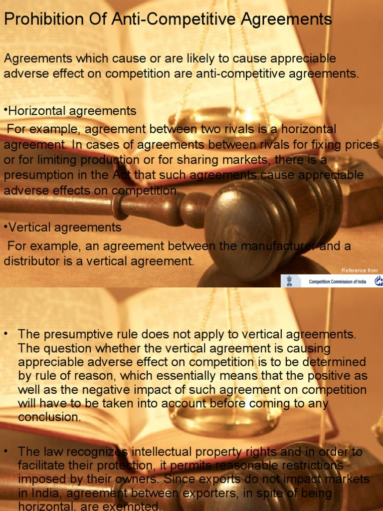 Prohibition Of Anti Competitive Agreements