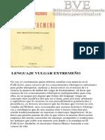 Martínez y Martínez, Matías Ramón - Lenguaje vulgar extremeño (1883)  El Folklore Frexnense y Bético-Extremeño Fregenal