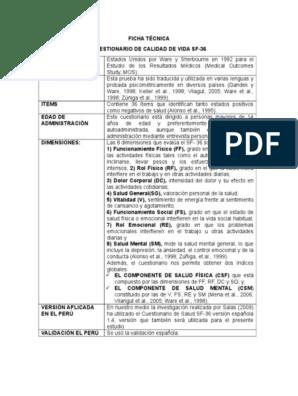 sf-36 cuestionario de calidad de vida relacionada con la salud diabetes