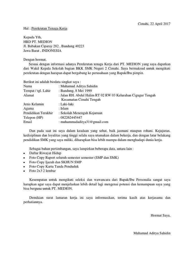 Surat Lamaran Kerja Lulusan Smk Jurusan Tkj