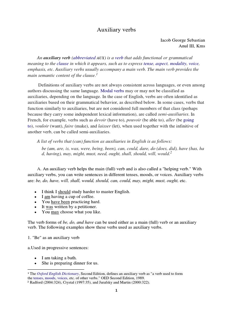 Auxiliary Verbs | Linguistic Morphology | Semantics