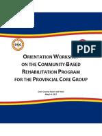 Terminal Report - Orientation Workshop on the CBRP