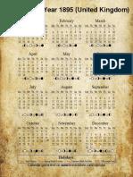 Year 1895 Calendar – United Kingdom - Bckgrnd