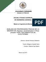 Análisis de Propiedades Físicas de La Mdera de Populus y Pino