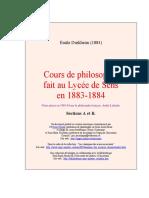 Durkheim, Émile - Cours de Philosophie Fait Au Lycée de Sens [1883-1884] (2002)
