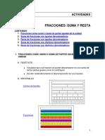 MATEMATICAS  Actividades Fracciones Suma y Resta