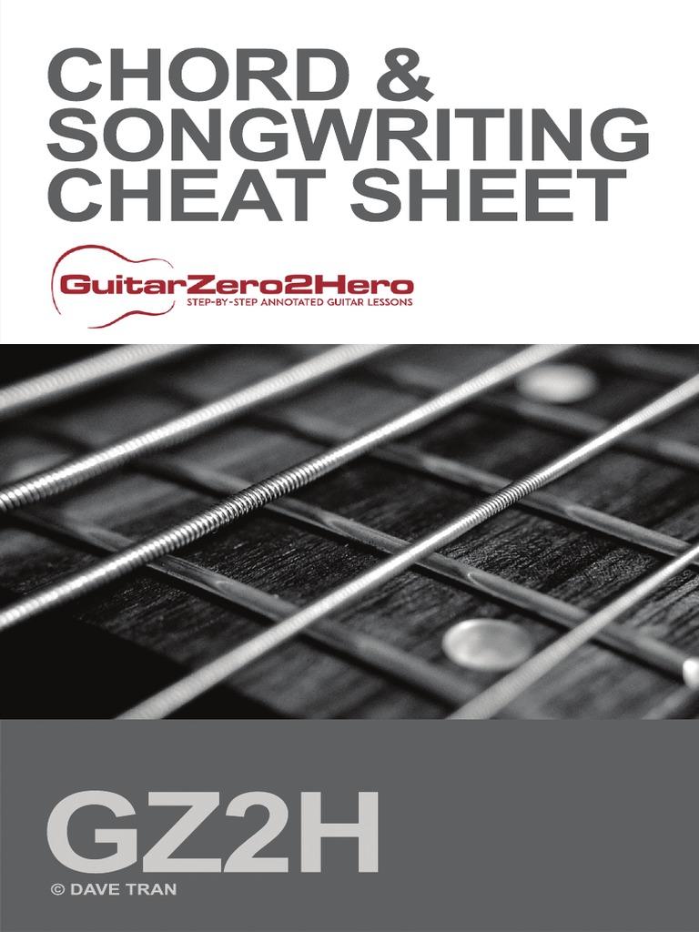Guitar Chord Songwriting Cheat Sheet Irish Musical Instruments