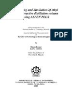Modeling and Simulation of Ethyl Acetate Reactive Distillation Column Using ASPEN PLUS