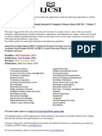 CALL FOR PAPERS International Journal of Computer Science Issues (IJCSI) - Volume 7, Issue 6 - November 2010 Issue