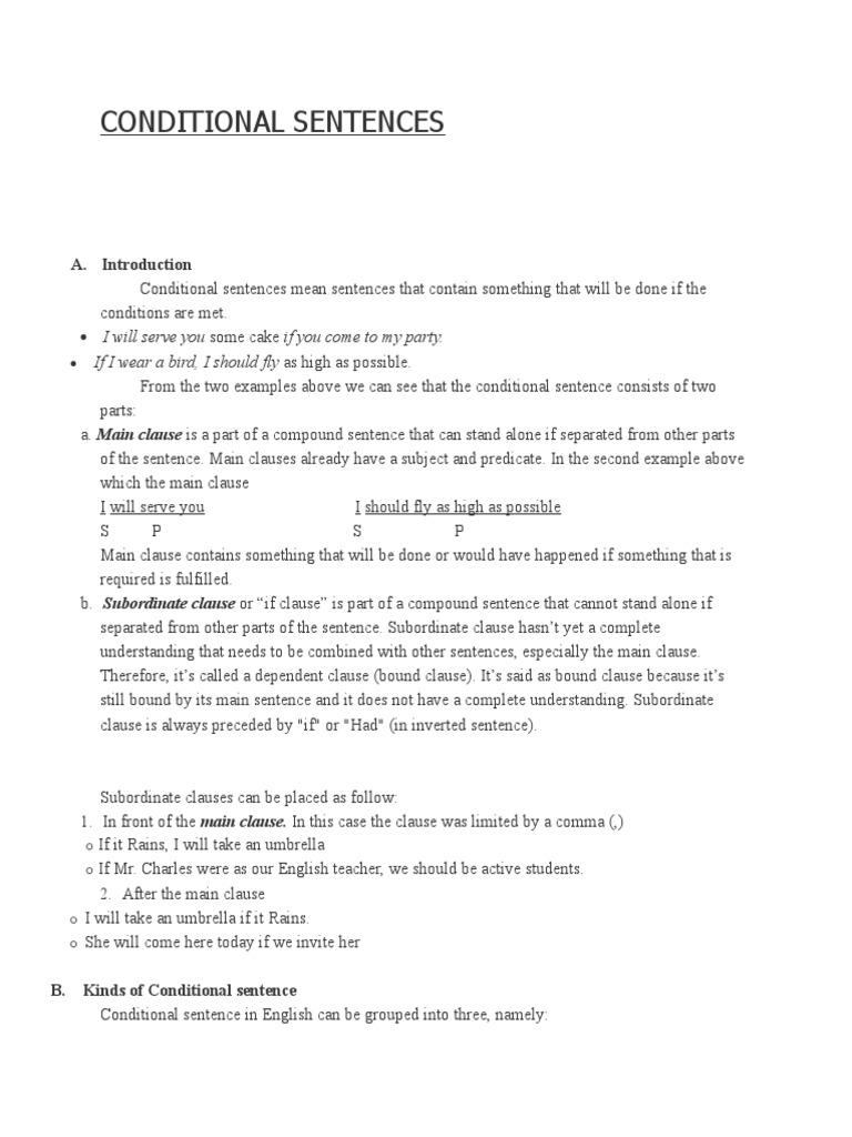 Conditional Sentences 2 Sentence Linguistics Grammatical Tense