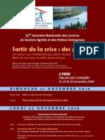 Pré-programme des 32èmes Journées Nationales des CGA et des petites entreprises
