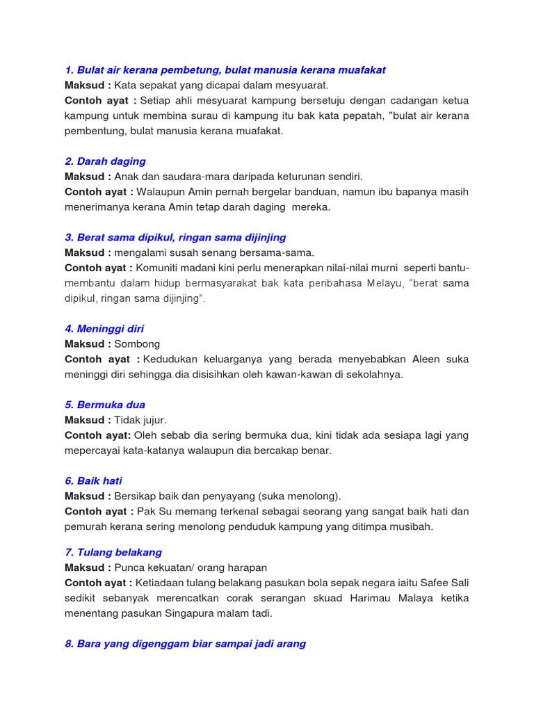 Senarai Peribahasa Tingkatan 4