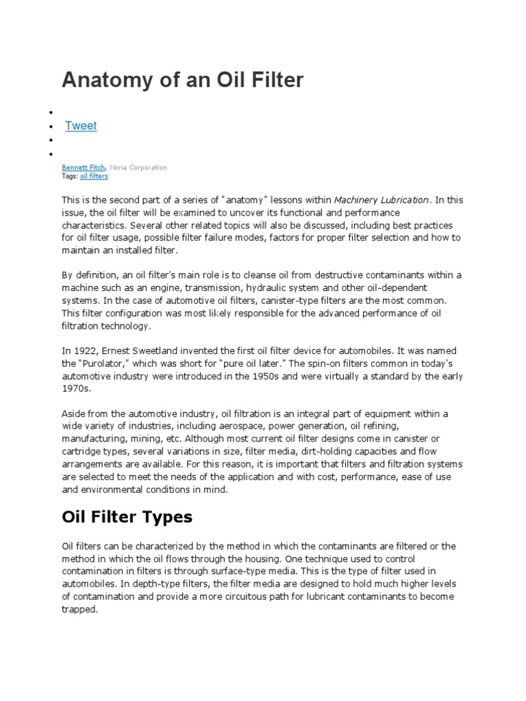 Anatomy of an Oil Filter by Bennett Fitch, Noria Corporation ...