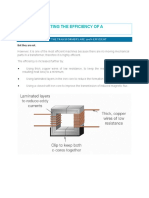 Factors Affecting the Efficiency of a Transformer