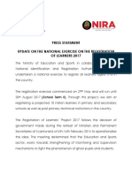 Uganda NIRA Press Statement on Registration of Learners