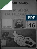 Karl Marx. Miséria Da Filosofia