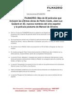 FILMADRID Nota de Prensa Presentacion19.05.2015