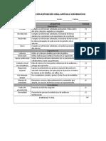 Pauta Evaluación Exposición Oral Artículo Informativo