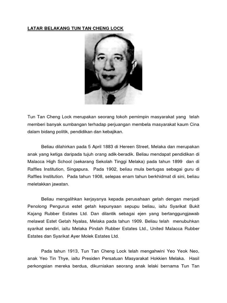 Latar Belakang Tun Tan Cheng Lock