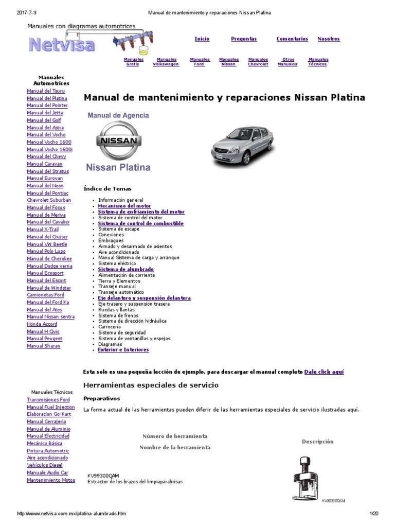 Manual De Mantenimiento Y Reparaciones Nissan Platina Pdf