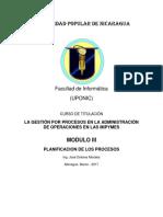 Planificación de Los Procesos, Modulo III