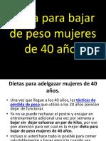 Dieta Para Bajar de Peso Mujeres de 40