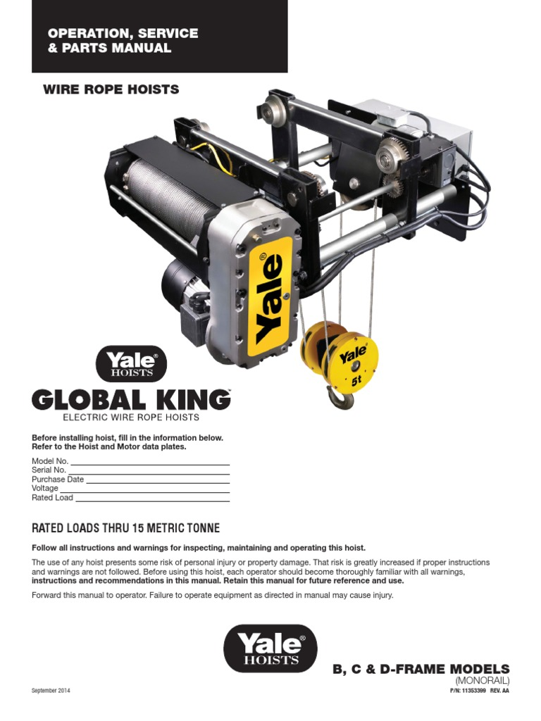 Yale Global King - Shaw-Box World Series Wire Rope Hoist - 5 to 15 ...