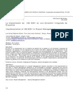 La Implantación de ISO 9001 en Una Dirección Integrada de Proyectos