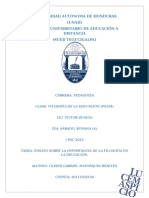 Ensayo Sobre La Importancia de La Filosofu00cda en La Educaciu00d3n.