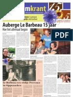 Jubileumkrant Auberge Le Barbeau 15 jaar