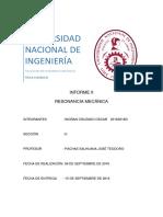Informe de laboratorio de FISICAII Resonancia Mecánica
