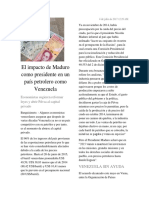 El impacto de Maduro como presidente en un país petrolero como Venezuela
