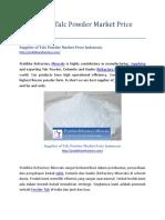 Supplier of Talc Powder Market Price Indonesia