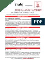 Les Controverses en Avignon 8-23 juillet 2017