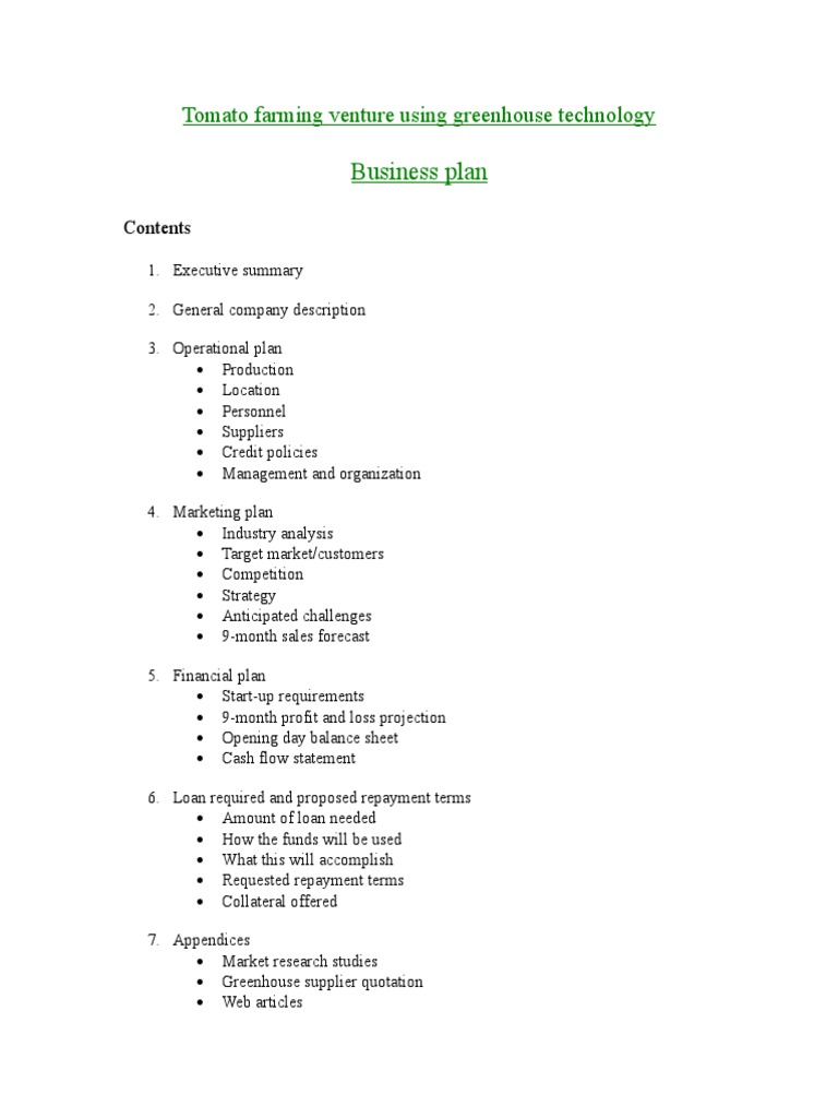 Business Plan for Greenhouse Tomatoes | Agriculture | Expense