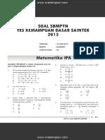 Soal SBMPTN Test Kemampuan Dasar SAINTEK 2013 Dan Jawaban