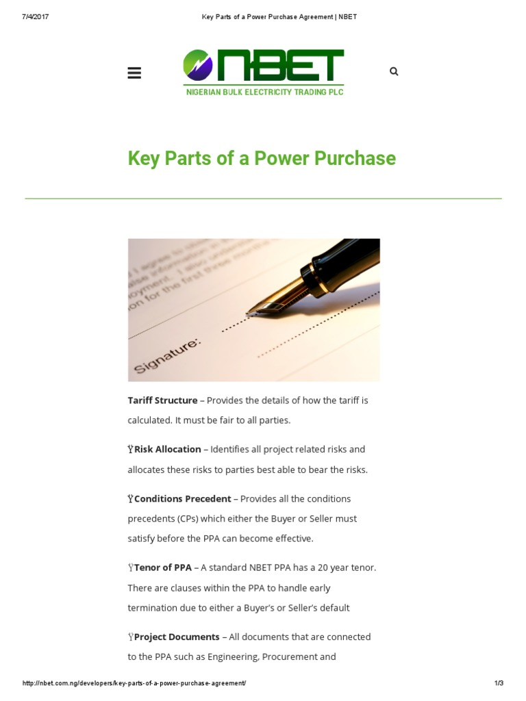 Key Parts Of A Power Purchase Agreement Nbet Business Energy