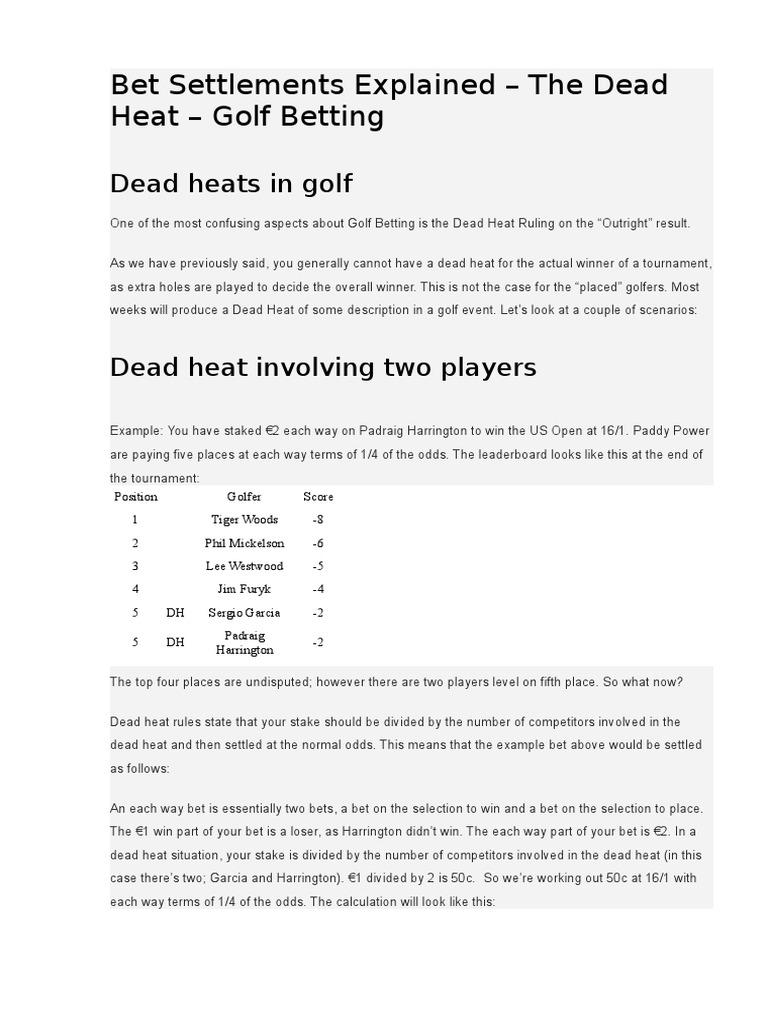 Golf betting each way dead heat joelmir betting avc blackboard